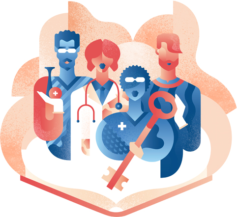 Solution 98 campaign illustration showing medical professionals with large key.
