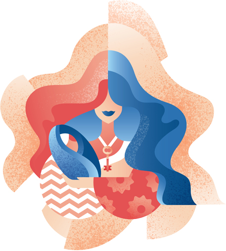 Mother and child illustration artwork for Solution 98 digital campaign.