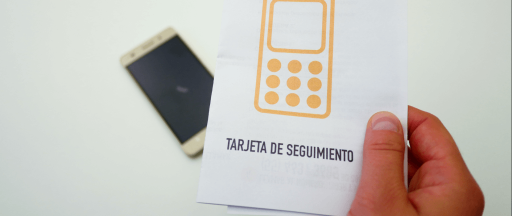 Paper instructions for follow-up and mobile phone