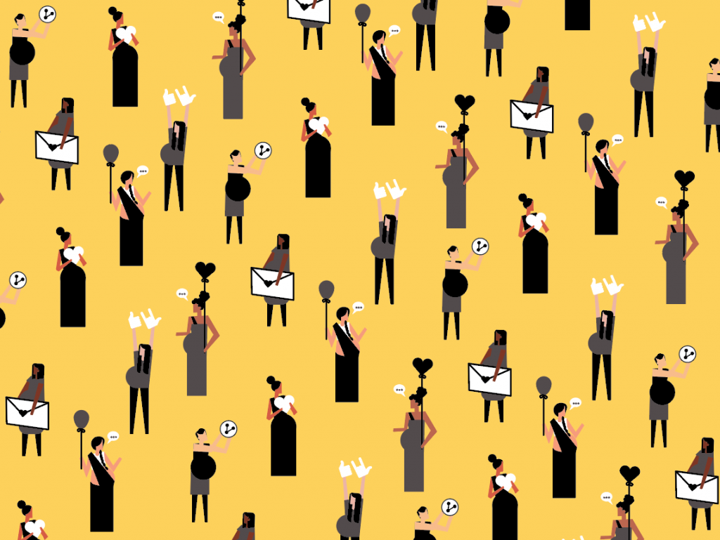 Globelly illustrations of a bunch of pregnant women from different cultures holding GloBelly letters against a yellow background.