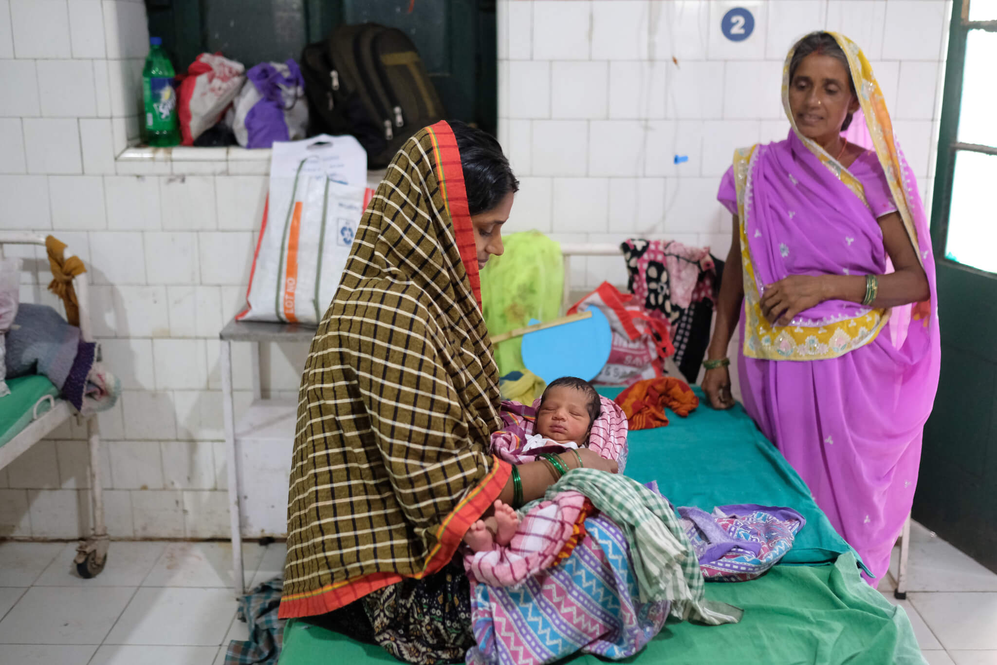 Mother with a newborn baby in an Indian hospital