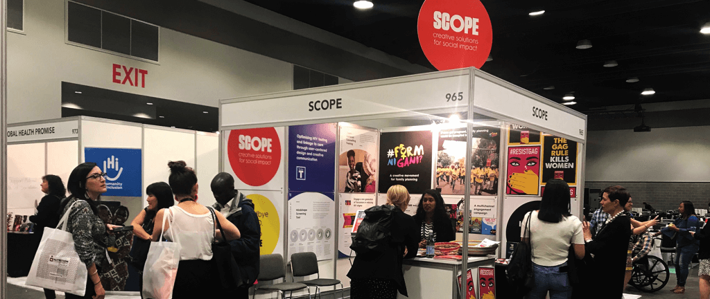Depicting Scope's stand at the Women Deliver fair in 2019.