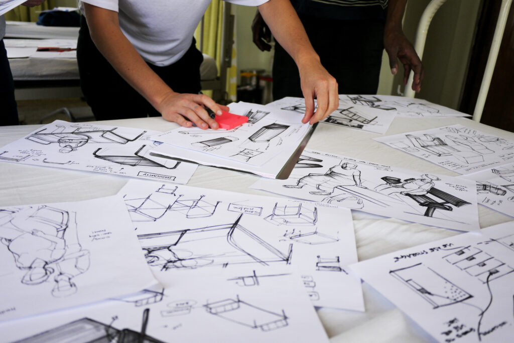 Planning of the Lab.Our Ward project using sketches of the new hospital bed designs.