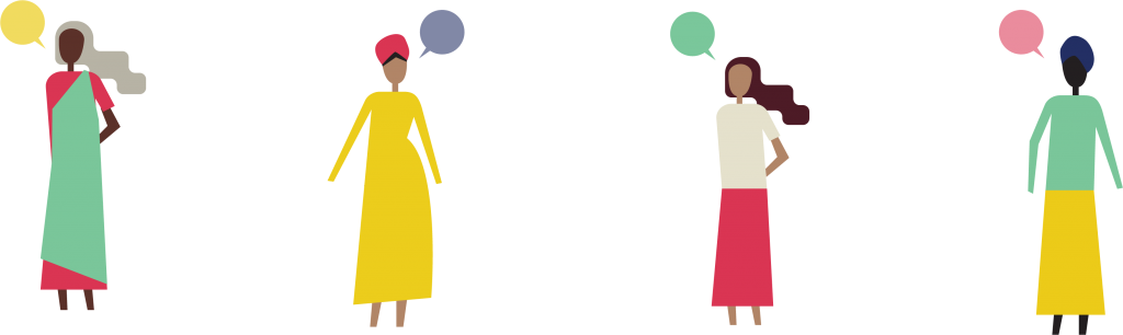 Illustration used in Core project depicting women from different ethnicities and generations.