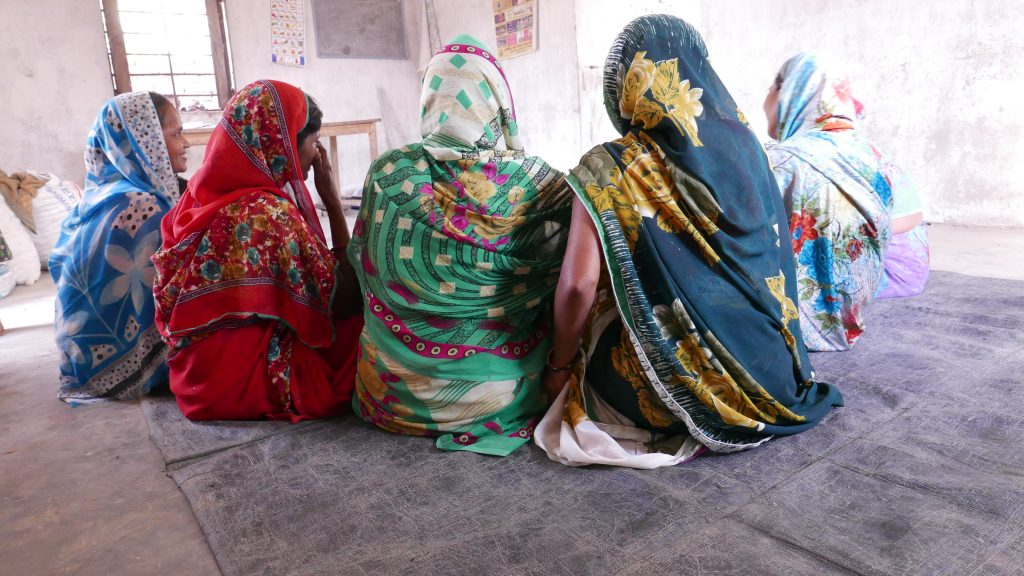 A group of five adolescent girls are discussing with each other. They are all wearing colourful saris with their backs turned against the camera.