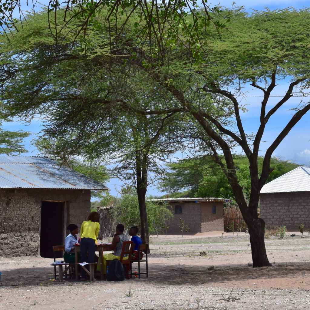 Yard of a health centre. A group of people are sitting under the shade of a tree, discussing together with their backs turned to the camera.