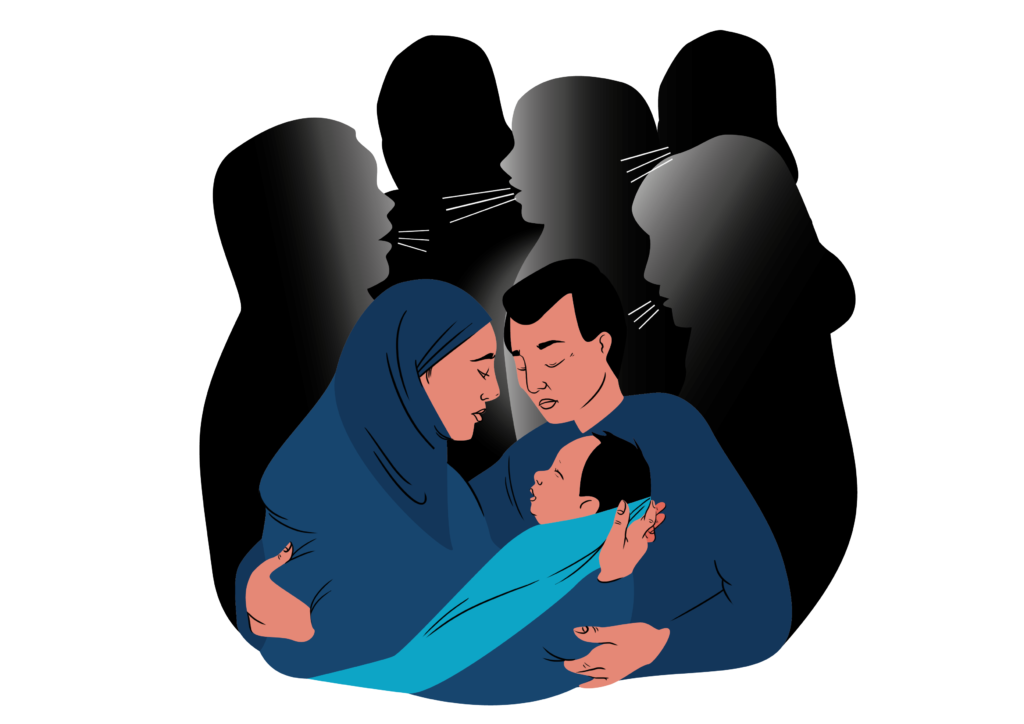 FGM/C is a tradition passed on from generation to generation. A young couple is holding a newborn child in their arms. In the background, black shapes of relatives are sharing their opinions about whether to cut the child or not..
