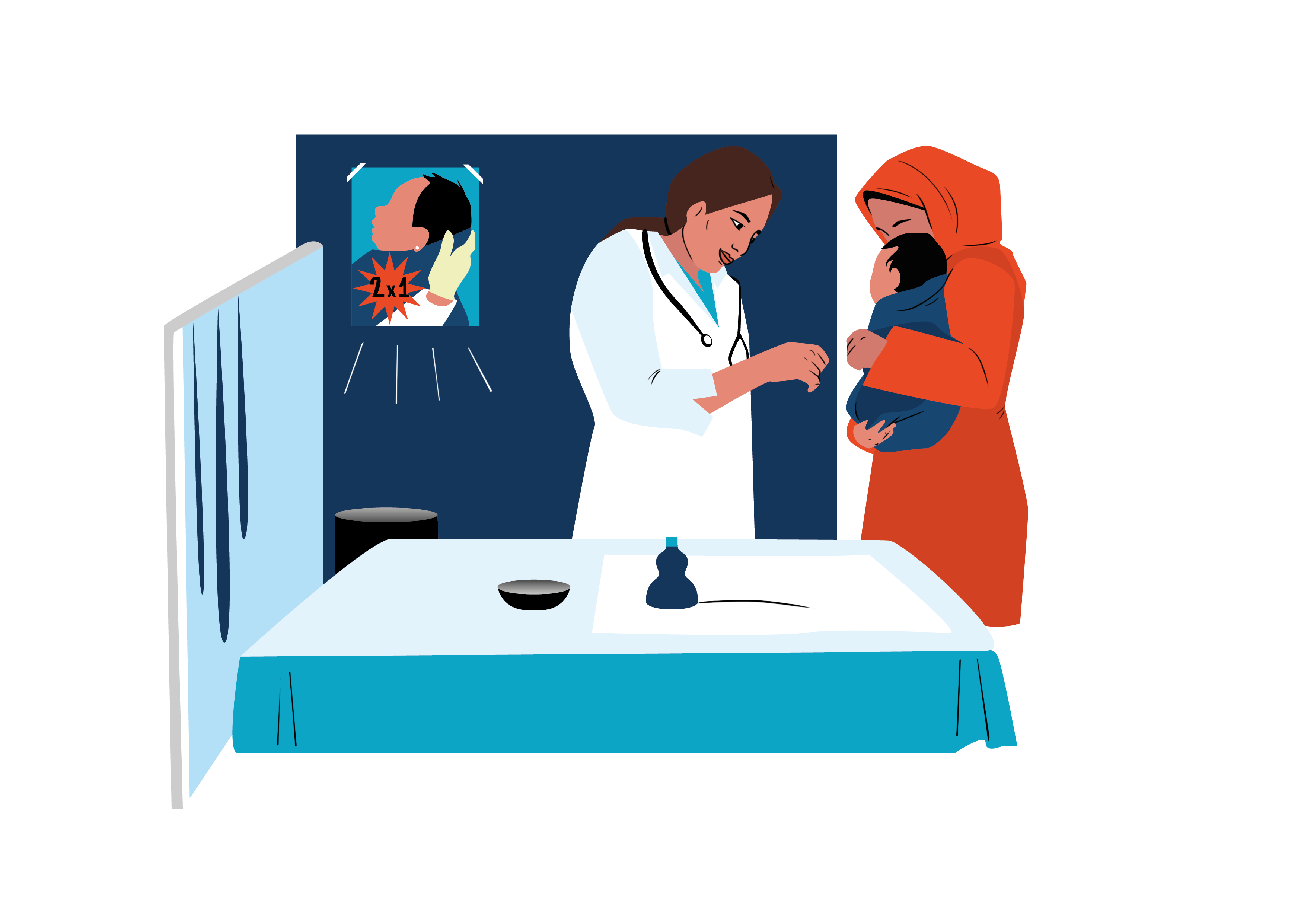 An illustration of a meeting between a doctor and a baby with her mother at the hospital. The doctor is looking happy.