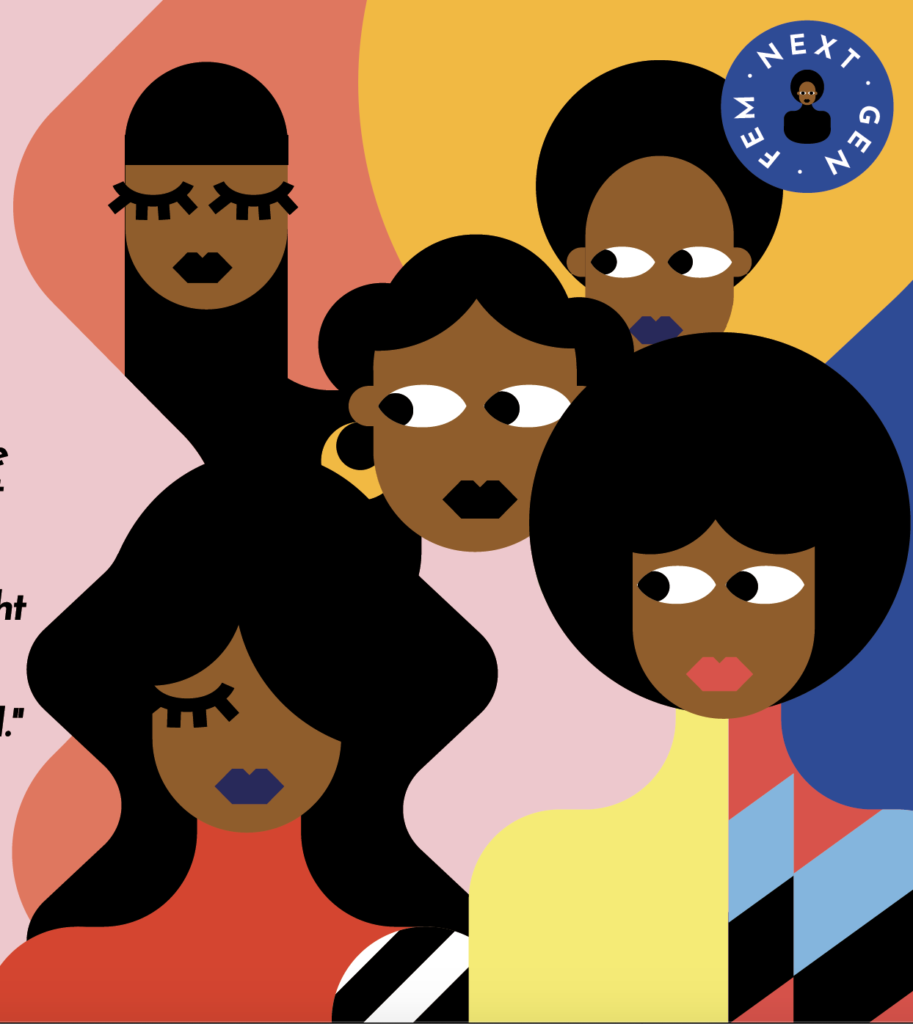 An illustration depicting Kenya's NextGenFem. Five women in hip clothes and different hairstyles are looking around. The background has a graphic, colourful pattern with blue, orange, yellow, and pink splashes.