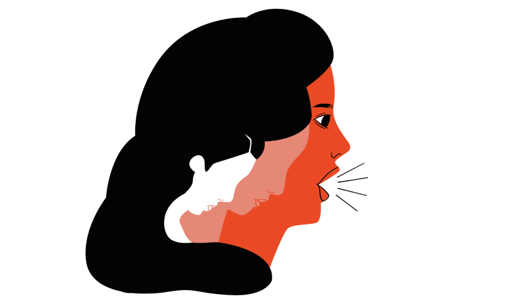 The three changing faces of FGM/C. An illustration of a woman's profile, shouting something with her mouth open. Enclosed in her profice there are two other women's profiles depicting the same woman without her empowerment. The first one is white, drooping her head. Next to her is a slightly bigger, and pinker one, but still face drooping. She has not yet found the confindence needed to become the shouting, empowered woman she now is.