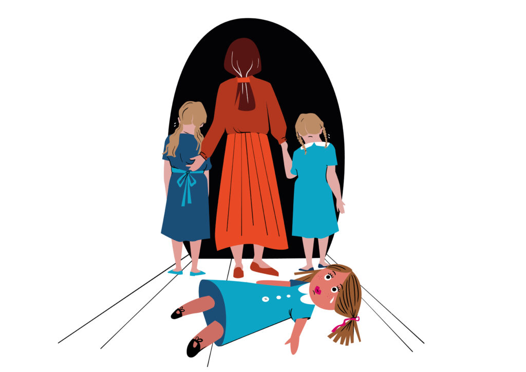 An illustration of a mother, leading her two young girl children to a black void. They have left behind a doll, which is lying on the floor idly with a tear in its eye.