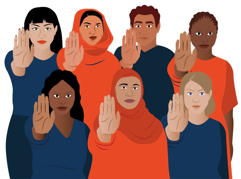 FGM/C is a harmful practice that needs to end. An illustration of six women and one man representing different ages, religions, and ethnicities, each holding their right hand in front of them, palm facing forward, to indicate 'STOP'.