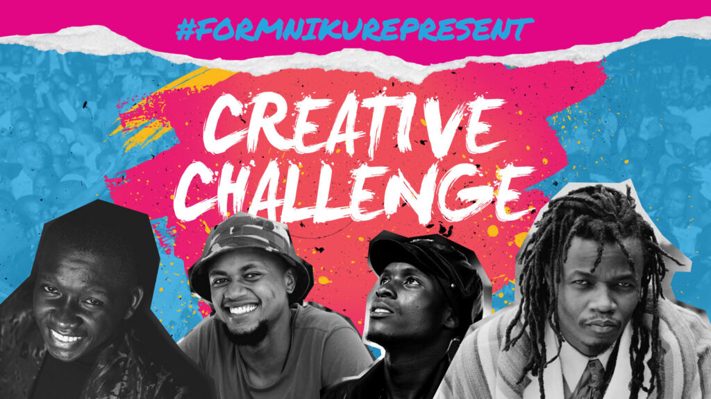 #FormNiKurepresent creative challenge visual with a graffiti style background and the four creative stars of the challenge.