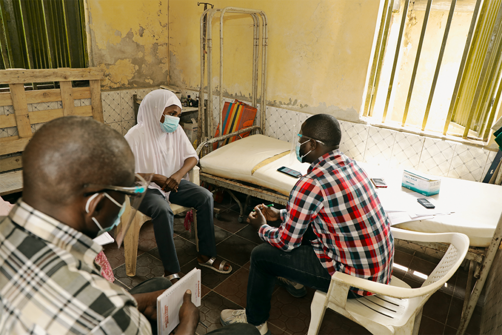 Design Clinic participants in Niger state conducts interviews at a healthcare facility to learn about challenges in maternal health services.