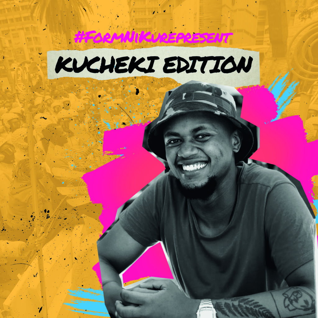 Kucheki Edition of the campaign. A black and white picture of Kucheki on a yellow background with pink and turquoise graffiti-style blotches.