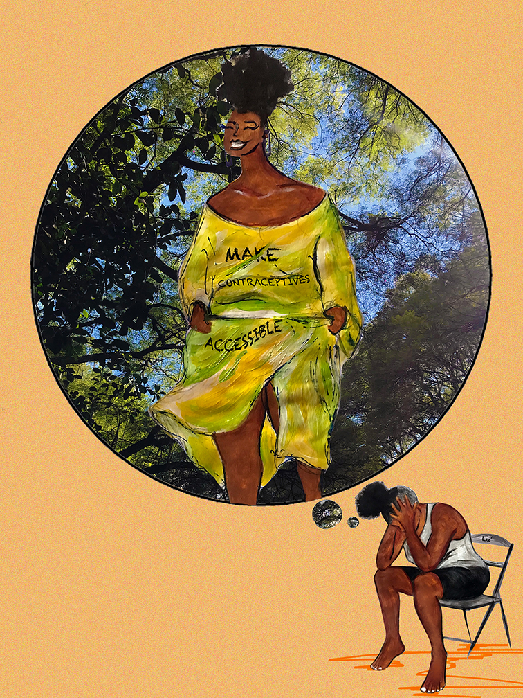 """Painting of a woman who sits on a chair holding her head in her hands looking devastated against an orange background. There is a thought bubble over her, where she is outside, looking happy in a yellow dress that reads """"make contraception accessible"""""""