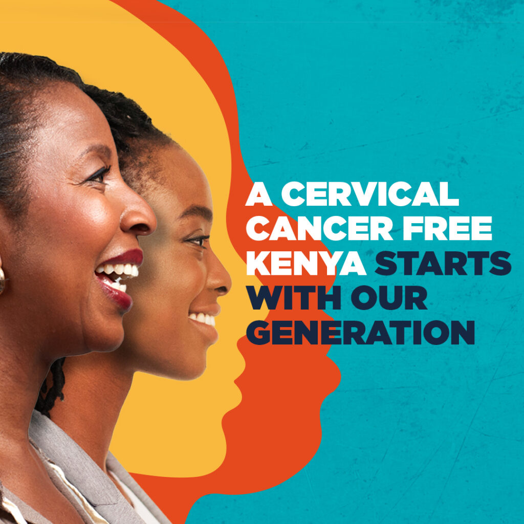 Kizazi Chetu logo with text: A cervical cancer free Keyna starts with our generation, against turquoise background