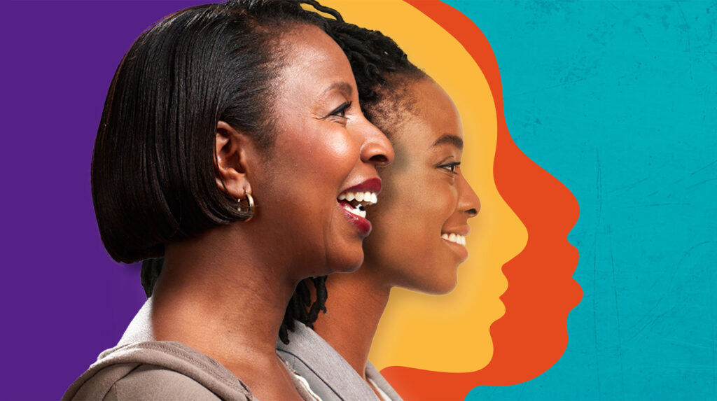 Kizazi Chetu logo with the profiles of two women, young and middle aged, laughing.