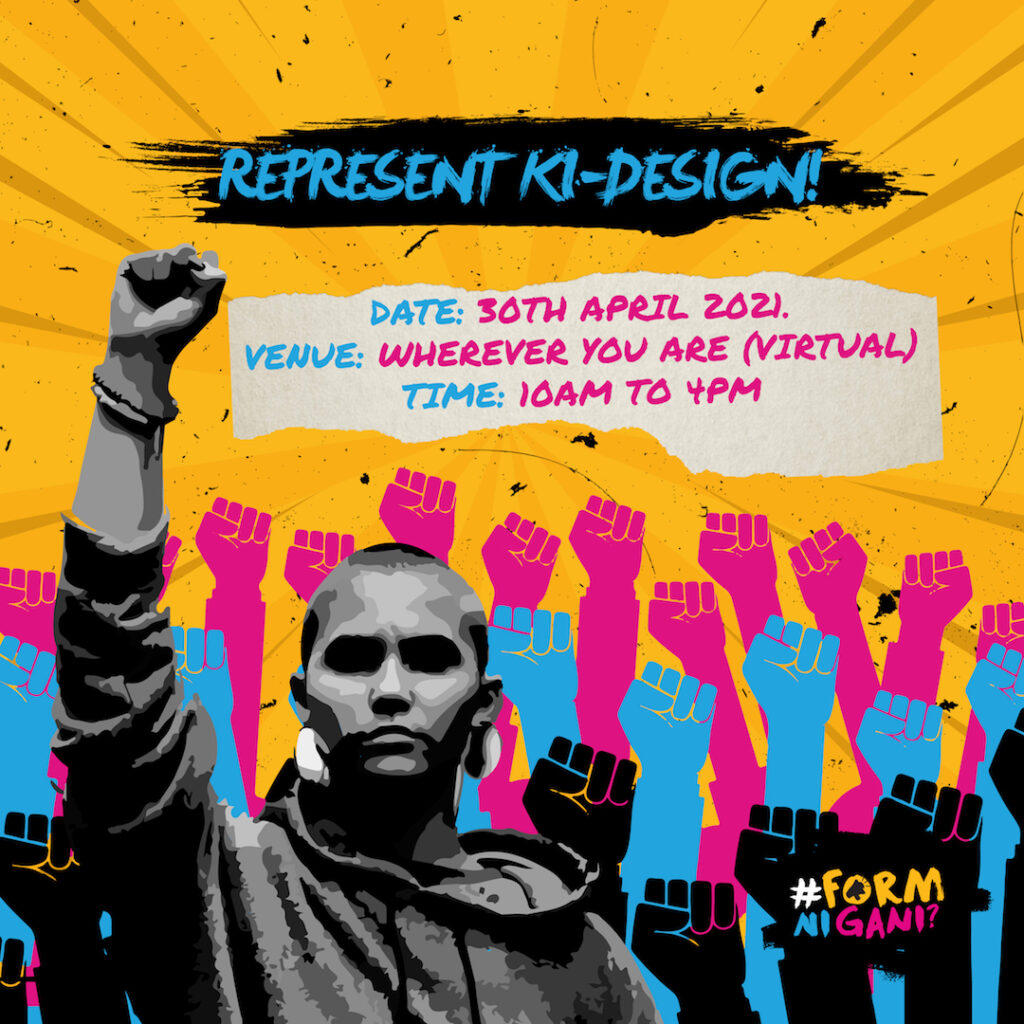#RepresentKiDesign campaign photo featuring a person with a raised fist on the foreground and a crowd of raised graffiti-style fists in the background.