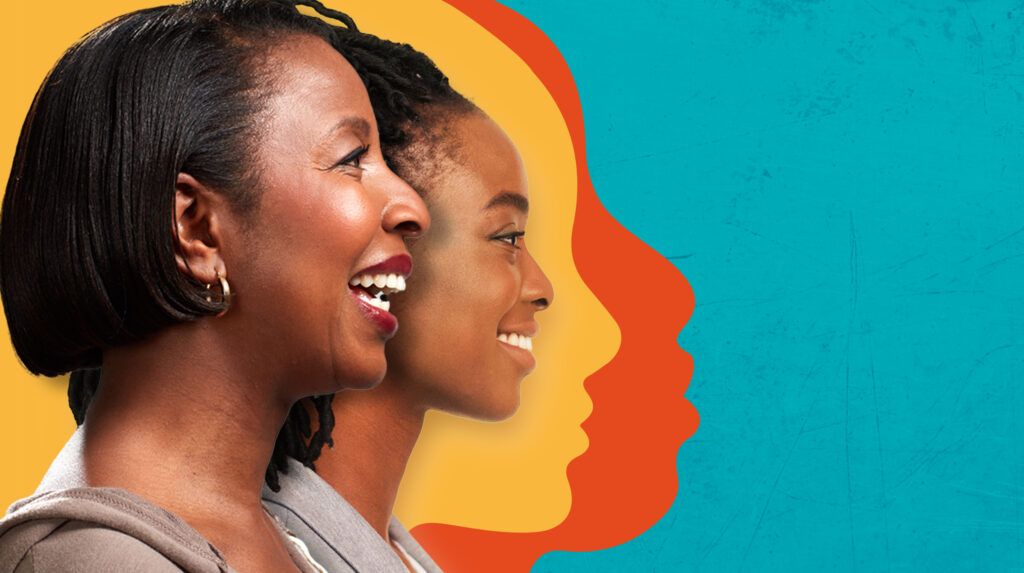Cervical health begins with awareness creation. A campaign poster with pictures of the profiles of an adolescent and middle aged lady with a background portraying the profiles' yellow and blue shadows. The background is turquoise.