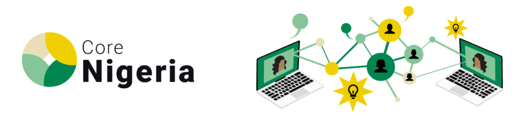 Logo of Core Nigeria's Virtual Network depicting two persons on adjacent laptop screens with a web of light bulbs and thought bubbles connecting the screens.